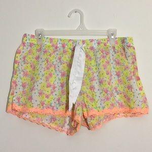 Victoria's Secret Floral Lace Trim Sleep Shorts